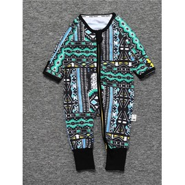 Green Long Sleeve Covered Feet Cotton Zipper Infant Jumpsuit/Bodysuit