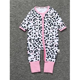 Spot Pattern Long Sleeve Covered Feet Cotton Zipper Infant Jumpsuit/Bodysuit