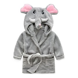 Gray Elephant Shaped Polyester 1-Piece Kids Robe