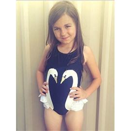 White Swan Printed Spandex Black Girls One-Piece Swimsuit