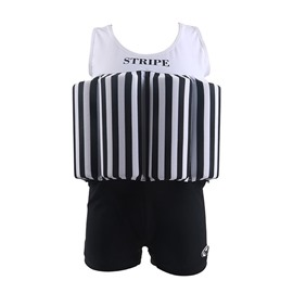 Float Stripes Pattern Polyester and Chinlon Fabrics Black Boys One Piece Swimsuit
