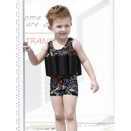 Float Letters Printed Polyester and Chinlon Fabrics Black Boys One Piece Swimsuit