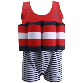Float Stripes Pattern Polyester and Chinlon Fabrics Boys One Piece Swimsuit