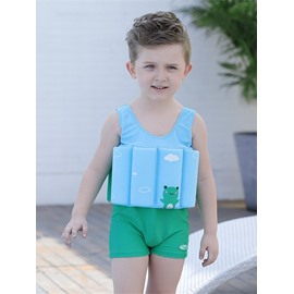 Float Frog Printed Polyester and Chinlon Fabrics Boys One Piece Swimsuit
