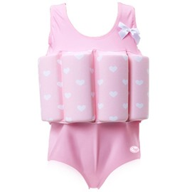 Float Heart Shape Printed Polyester and Chinlon Fabrics Pink Girls One Piece Swimsuit