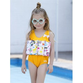 Float Flowers Printed Polyester and Chinlon Fabrics Yellow Girls One-Piece Swimsuit