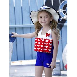 Float Heart Shape Printed Polyester and Chinlon Fabrics Girls Swimsuit