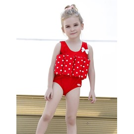 Float Polka Dot Polyester and Chinlon Fabrics Red Girls One-Piece Swimsuit