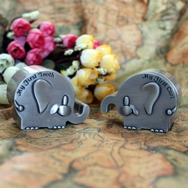 Elephant Shape Zinc Alloy Baby First Teeth and Curl Keepsake Box