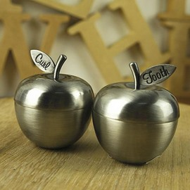 Lovely Little Apples Zinc Alloy Baby First Teeth and Curl Keepsake Box