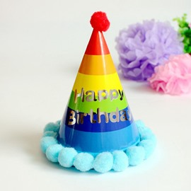 Lovely Rainbow Print Baby Birthday Hat Decoration