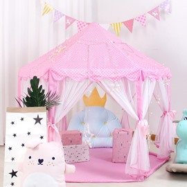 Large Pink Polka Dots Princess Style Kids Indoor Tent