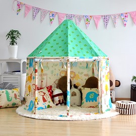 Animals Pattern Green Hex-angular Cotton Cloth Kids Indoor Tent