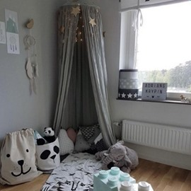 Cotton Fabric Nordic Style Kids Home Decor Easy to Install And Clean Gray Round Canopy