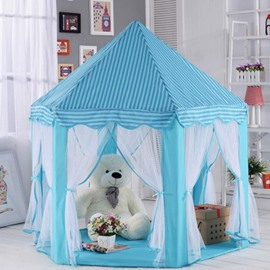 Stripe Pattern Hexangular Princess Style Anti-Mosquito Blue Kids Indoor Tent