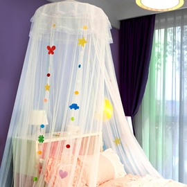 Embroidery Sequins Princess Canopy Kids Round Lace Bed Net