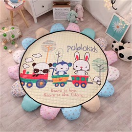 Cartoon Animals Pattern Round Shape Polyester Baby Play Floor Mat/Crawling Pad