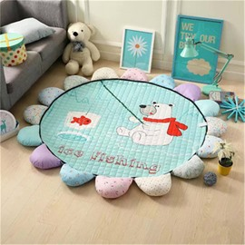 Polar Bear Pattern Round Polyester Green Baby Play Floor Mat/Crawling Pad