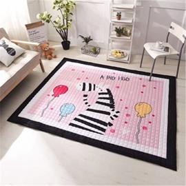 Cartoon Zebra Pattern Rectangular Polyester Pink Baby Play Floor Mat/Crawling Pad