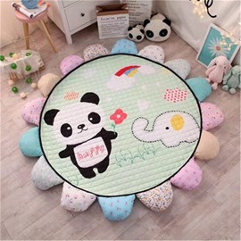Panda and Elephant Pattern Round Polyester Green Baby Play Floor Mat/Crawling Pad