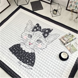 Cartoon Cat Pattern Rectangular Polyester Baby Play Floor Mat/Crawling Pad