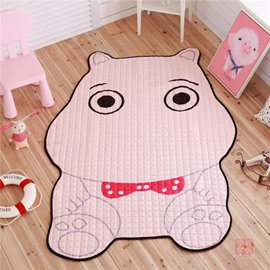 Hippo Shape Polyester Pink Baby Play Floor Mat/Crawling Pad