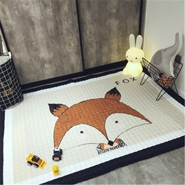 Fox Pattern Rectangular Polyester Baby Play Floor Mat/Crawling Pad