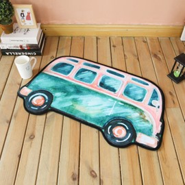 31*21in Bus Shape Polyester Blue Baby Play Floor Mat/Crawling Pad