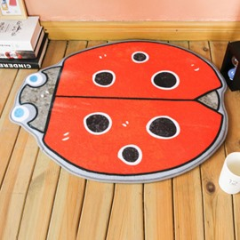 Orange Ladybirds Shape Polyester Baby Play Floor Mat/Crawling Pad
