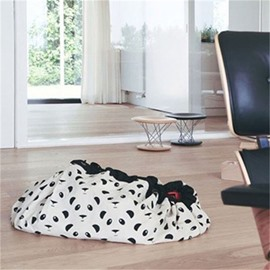 Panda Printed Rounded Cotton White Baby Play Floor Mat/Crawling Pad