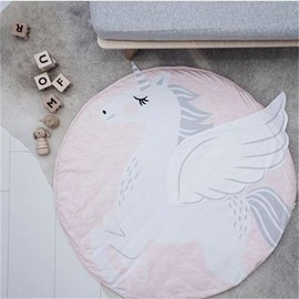 Unicorn Printed Rounded Cotton Pink Baby Play Floor Mat/Crawling Pad