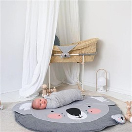 Koala Printed Rounded Cotton Gray Baby Play Floor Mat/Crawling Pad