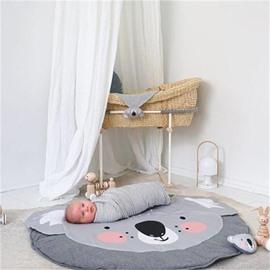 Koala Printed Rounded Cotton Gray Baby Play Floor Mat/Crawling Pad