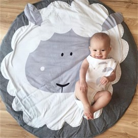 Sheep Printed Rounded Cotton Baby Play Floor Mat/Crawling Pad