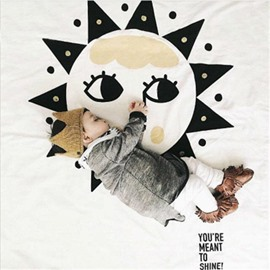 Smiling Face and Sun Rounded Cotton Baby Play Floor Mat/Crawling Pad