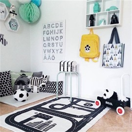 Roads Printed Rectangular Cotton Baby Play Floor Mat/Crawling Pad