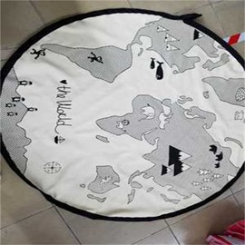 Map Printed Rounded Cotton White Baby Floor Mat/Crawling Pad