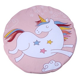 Unicorn Printed Rounded Cotton White Baby Play Floor Mat/Crawling Pad