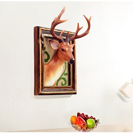 2 Color Deer Head Environment Friendly Resin Material Kids Room Wall Decor
