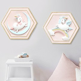 Cute Unicorn Environment Friendly Resin Material Multiple 3D Kids Room Wall Print