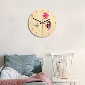 Cartoon Little Girl And Balloon Pattern Wood Material Kids Room Decor Mute Wall Clock