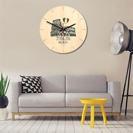 11*11*1.6in Cartoon Architecture Pattern Wood Material Kids Room Decor Mute Wall Clock