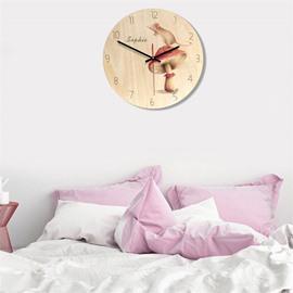 Cartoon Girl And Elephant Pattern Wood Material Kids Room Decor Mute Wall Clock