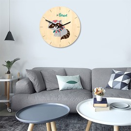 11*11*1.6in Wood Material Simple Cartoon Animals Kids Room Decor Mute Wall Clock