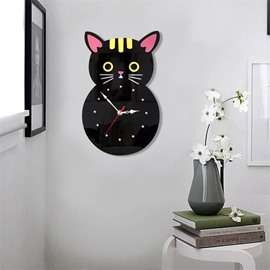 Black Cartoon Cats Pattern Environment Friendly Acrylic Kids Room Decor Mute Wall Clock