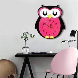 Red Cartoon Owl Pattern Environment Friendly Acrylic Kids Room Decor Mute Wall Clock
