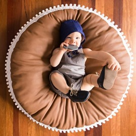 Brown Round Cotton Soft Baby Play Floor Mat/Crawling Pad