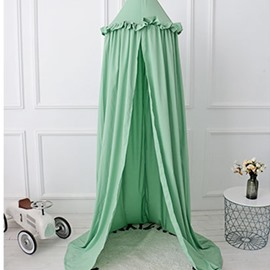 Green Europe Style Cotton Fabric Lace Decor Kids Round Canopy