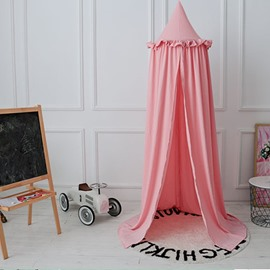 Pink Europe Style Cotton Fabric Lace Decor Kids Round Canopy