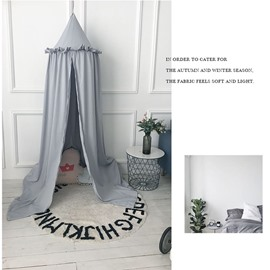 Grey Europe Style Cotton Fabric Lace Decor Kids Round Canopy
